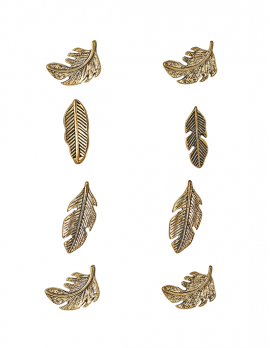Bronze Feather Stud Earring Set - 4 pieces