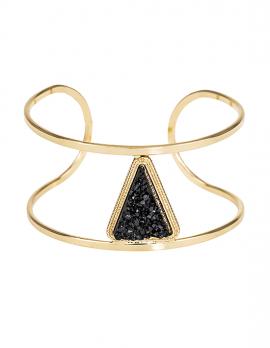 Gold Bar Bracelet with Black Stone Triangle