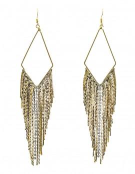 Sleek Chain and Rhinestone Earrings