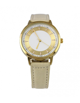 Outline Banded Gold Watch