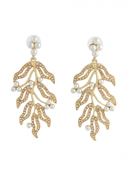 Faux-pearl Leaf Earrings