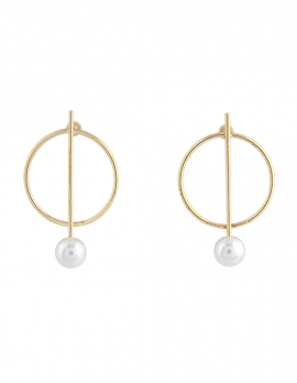 Faux-pearl Circle and Bar Earrings