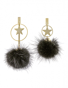 Star and Pom Pom Drop Earrings
