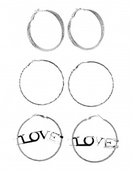 Love Hoop Earrings-Set of 3