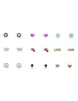 Love Stud Earring Set - 9 pairs
