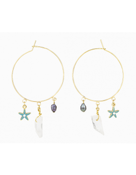 Starfish charm hoop earrings