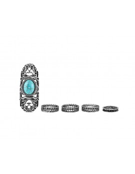 Women's Turquoise Midi-Ring Set